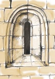 Román stílusú templomablak a 11. századból