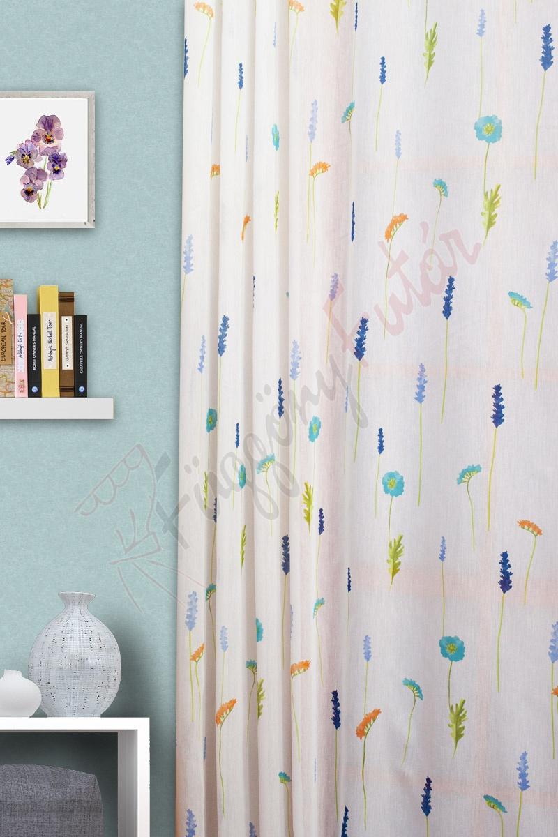 Fehér alapon színes virágmintás batiszt függöny Carina 290 03 effe58271d