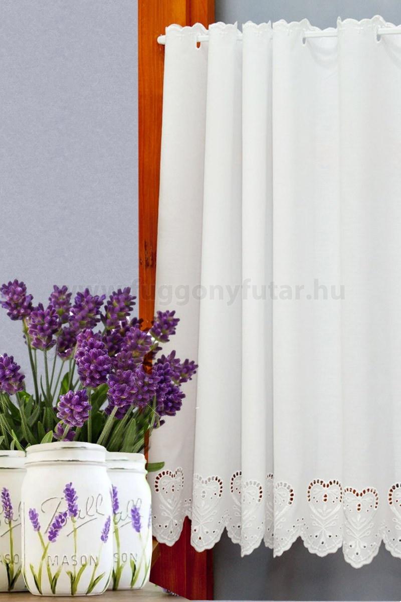 Galga - Fehér színű hímzett szívmintás batiszt vitrázs függöny 1010090030 5d368e67b1